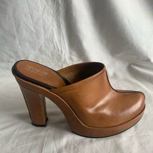 Guess By Marciano Size 8M Brown Leather Slip On
